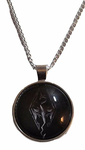 Skyrim Elder Scrolls Dragon Logo Glass Domed Pendant Necklace