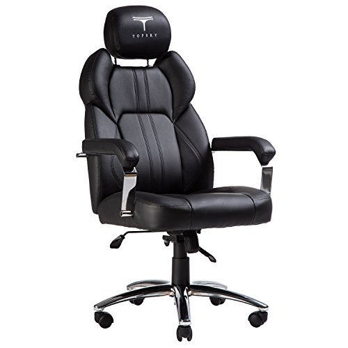 TOPSKY Executive Office Chair Large Leather Chair with Adjustable Headrest High Back (Black New) by TOPSKY
