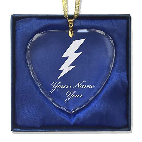 SkunkWerkz Christmas Ornament, Lightning Bolt, Personalized Engraving Included (Heart Shape)