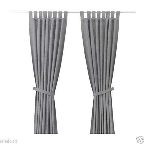 Ikea Curtains with tie-backs, 1 pair, gray 55x98