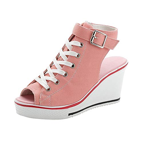 Women's Peep Toe Canvas Wedge Heeled Platform Fashion Sneaker Pump Shoes #4 Pink Label 39 - US 8