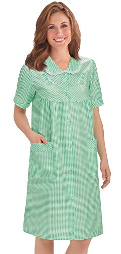 (Collections Women's Etc. Gingham Women's Robe with Floral Accents, Snap-Front Closure and Lace Trim, Mint, XXX Large)