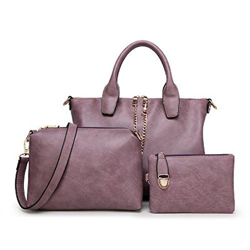 Oudan Bolso de mano de cuero de las mujeres Bolso de mano de gran capacidad + Bolso de Crossbody + Monedero de tres piezas (Color : Blanco, tamaño : Un tamaño) Púrpura