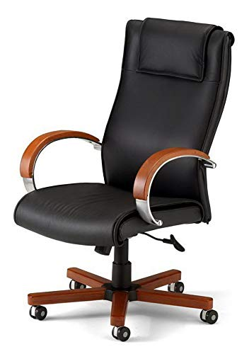 (Hebel Contemporary High-Back Executive Leather Chair w Wood Accents [ID 377594] | Model CCNTCHR - 495 |)