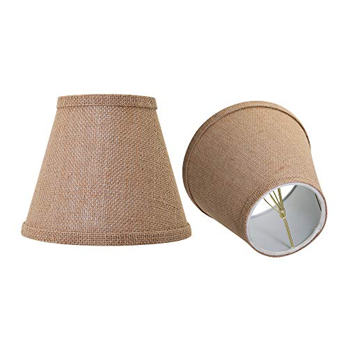 Double Mesh Small Lamp Shade Clip On Bulb Set of 2, Alucset Barrel Fabric Lampshade for Table Chandelier Wall Lamp 4x7x6 Inch, 2Pcs Pack (Brown)