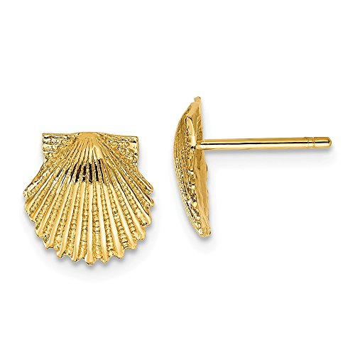 FB Jewels Solid 14K Yellow Gold Scallop Shell Post Earrings ()