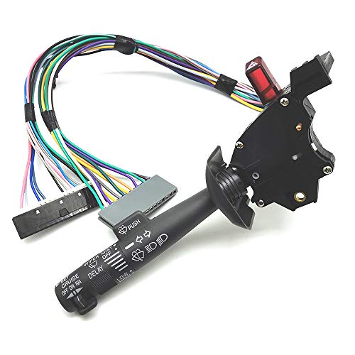 FEXON Multi-Function Combination Switch with Turn Signal, Wiper, Washers, Hazard Switch, Cruise Control for 1995-2000 Chevrolet Chevy Tahoe Blazer Suburban GMC K1500 & More 2330814 26100985 26036312