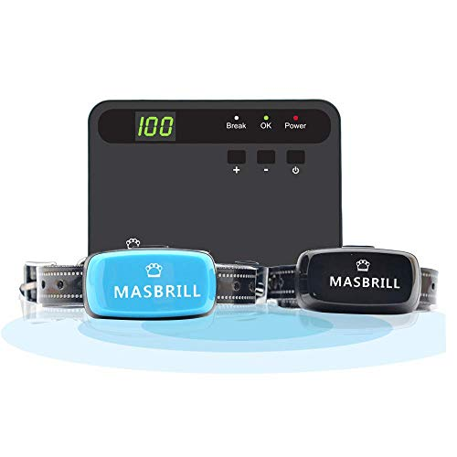 MASBRILL Electric Dog Fence, Underground Fence Containment Systerm, Suitable for Small, Medium, Big Dogs, Best Pet Safety Solution, Equip 2 Rechargeable Waterproof Collars. (Best Underground Fence For Large Dogs)