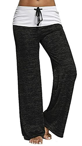 Fold Over Fitness Pant - Artfish Women's Color Block Fold Over Waist Yoga Pants Workout Leggings (522#Black, XXL)