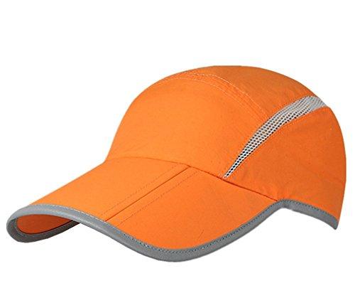 le Quick Drying Reflective Foldable Running Cap Outdoor Sports Hat 40+ UPF Inhibit UV Mesh Race Performance Water Repellency Baseball Cap (Orange) (Adjustable Race)