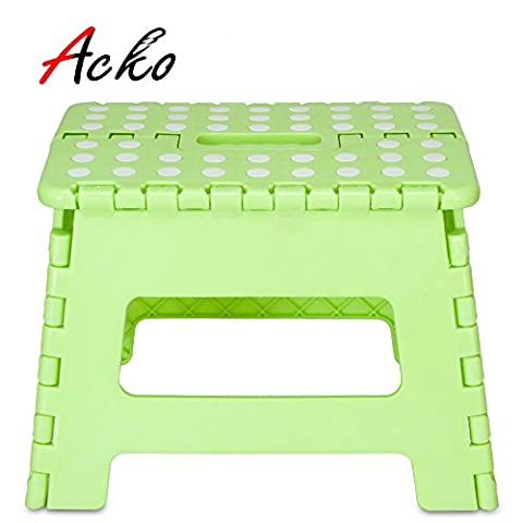 Acko Light Green 11 Inches Non Slip Folding Step Stool for Kids and Adults with Handle, Holds up to 250 (Light Wit Stand)