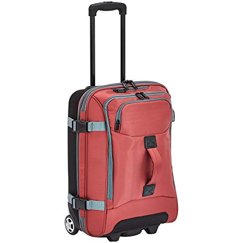 AmazonBasics Rolling Travel Duffel Bag Luggage with Wheels, Small, Red