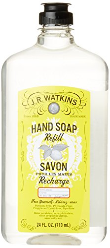 J.R. Watkins Natural Liquid Hand Soap, Lemon, 24 Ounce Refill