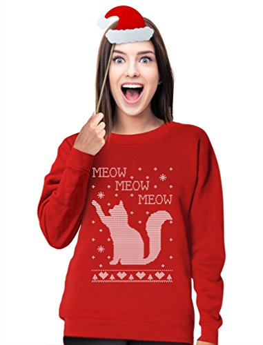 Meow Meow Meow - Big Ugly Christmas Cat Women Sweatshirt Large Red