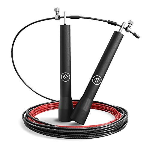 Springtouw Speed Jumping Rope + Trainingsgids & Reservekabel   Lichte dunne staaldraad, verstelbaar + Kogellagers…