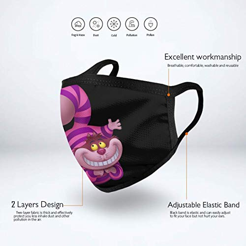 Luckyoung Alice In Wonderland Cheshire CAT Unisex Adjustable Mouth Mask Fashion Mask Cover Washable Dust Mask Windproof Sanitary Mask Black