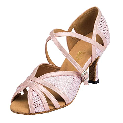 Femme Latino De Peep Shoes Courroie Toe Corps 0002 Rose Mariage Salsa Disco qOatw5w
