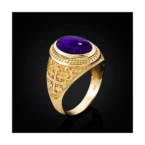 14K-Yellow-Gold-Jerusalem-Cross-Purple-Amethyst-February-Birthstone-Ring