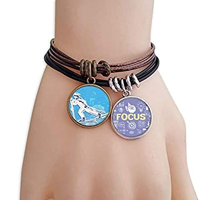 Winter Sport Snowboarding Blue White Illustration Bracelet Rope Wristband Force Handcrafted Jewelry Estimated Price £9.99 -