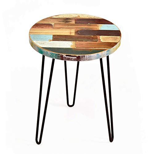 - WELLAND Side Table Reclaimed Wood, Round Hairpin Leg End Table, Night Stand, Recycled Boat Wood, 20