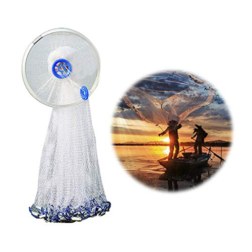 Catch Fish Network, Magic Fishing Net Fine Fish Aluminum Ring American Aluminum Ring Monofilament Thread Throwing Net (2.4 meters diameter, blue) by Sunsee (Image #9)