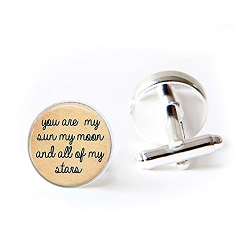 LooPoP Round Cufflink Set You Are My Sun My Moon Quote Cufflinks For Men's Accessories Shirts Business Wedding by LooPoP
