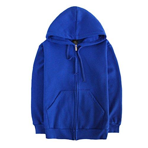 Stile Camicetta Lunghe con Yiiquan College Maniche Blu Felpe Cardigan Cappuccio Unisex Zaffiro ZTxwxaq5