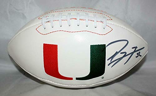 Ray Lewis Autographed Univ of Miami Hurricanes Logo Football Auth *right - PSA/DNA Certified - Autographed College Footballs]()