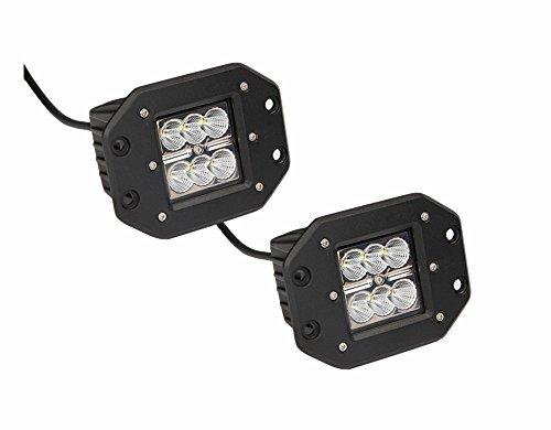 Permitop 24W 4.7inch 10-30V Cree LED Work Light Flush Mount Off Road 4x4 SUV ATV Jeep - Pack of 2 (24W - 4 Flush Light Rail