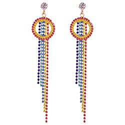 Colorful Crystal Rhinestone Rainbow Dangle Earrings