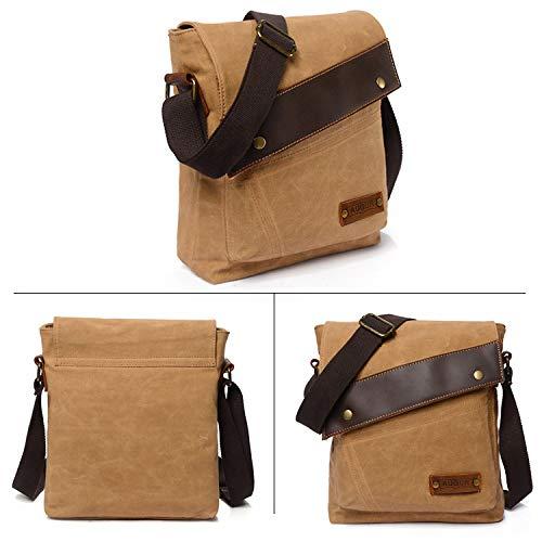 Kaki Gris Pouces Ordinateur Vintage Crossbody Messenger Bag 14 Toile 6 Sacs Cartable Travail Briefcase Portable Sac Laptop Fandare Portés Ecole Bandoulière nzRHwqH4