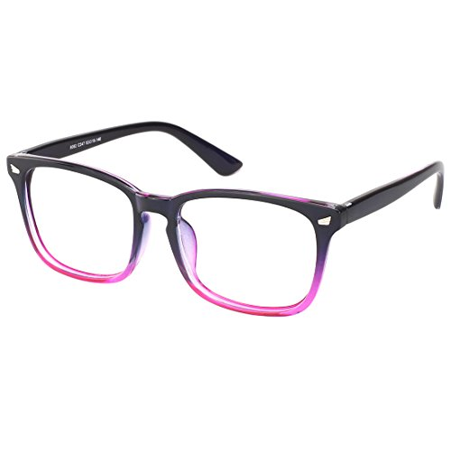 Slocyclub Vintage 50's Wayfarer Clear Lens Glasses Nerd Square Keyhole Design - Glasses Purple Nerd