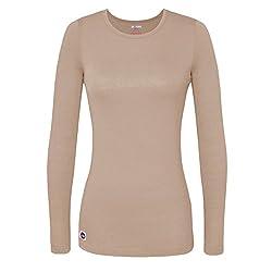 Sivvan Women's Comfort Long Sleeve T-shirt Underscrub Tee - S8500 - Khaki - M