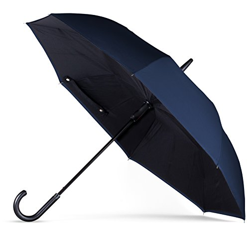 ANYWEATHER Westinghouse Reversible Inverted Automatic Open Umbrella Leather J Handle, Large, Sapphire Blue