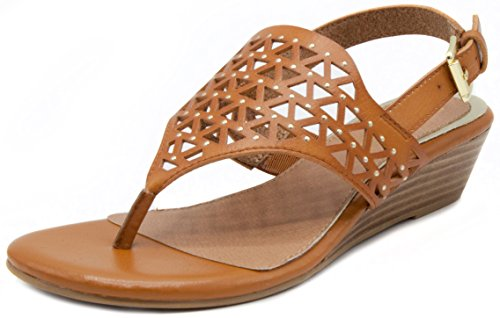 - Rampage Women's Sachin Wedge Sandals with Cutouts and Slingback Buckle Closure 10 Cognac Burnish