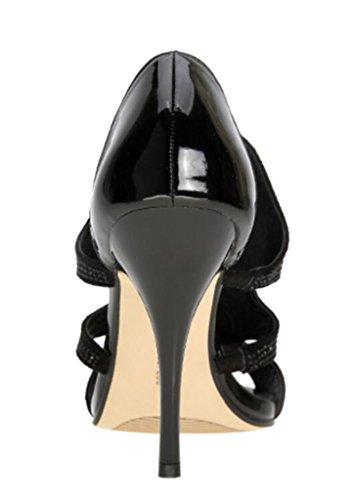 Peep Talon Orteil Sandales Velveteen Aiguille Chaussures Talons Pompes Hauts Femmes Noir 02 Sexy wqAHqR6