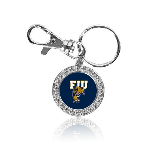 (Florida International Crystal Studded Round Key Chain 'FIU on Panther')