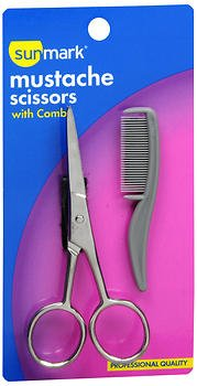 Sunmark Mustache Scissors with Comb – 1 set, Pack of 2