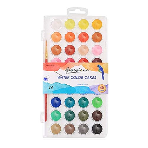 Le-Sugar Kids Washable Watercolor Paint Set 36 Color Cakes+Paintbrush+Plastic Palette Lid Case