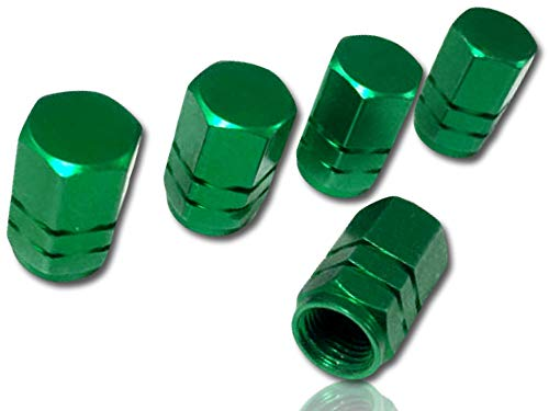 ((5 Count) Custom Tire Wheel Rim Valve Stem Dust Cap Cover Seal w/ Easy Grip Texture, Made of Rust Proof Aluminum Metal w/ Anodized Hex Hexagon Six Ribbed Stacked Recessed Rings {Green} + Certificate)