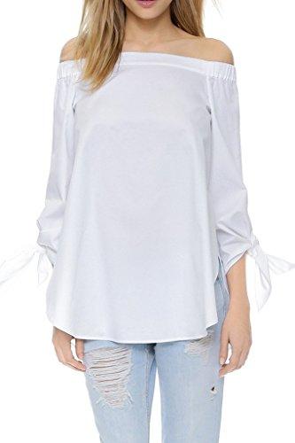 chemisier Apparel est haut manches coton de l'paule Simplee la chemises blanc longues Blanc femme de la page RFqwdf4