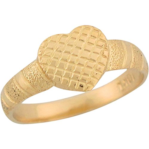 14k Yellow Gold Heart Shaped Unique Design Kids Ring Jewelry by Jewelry Liquidation
