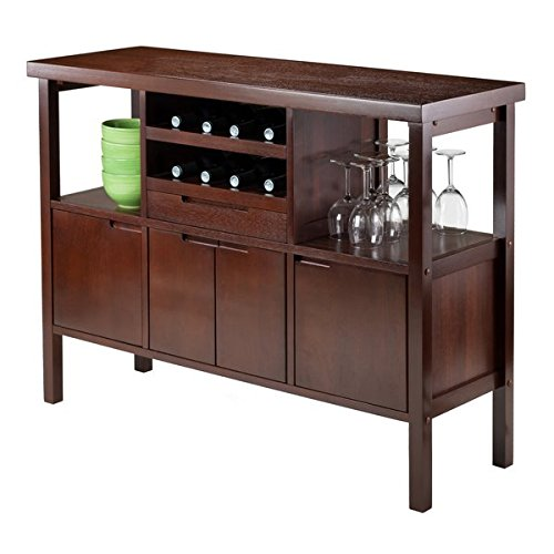 Sideboard Solid/Composite Wood in Walnut Finish The Middle Wine Rack Area have Scallops to Hold the Wine Bottles - 46' Round Dining Table