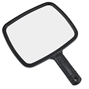 TRIXES Professional Handheld Salon Barbers Hairdressers Mirror with Handle - Large Vanity Hand Mirror - Portable for Stylists Shaving Beauty Make Up Artists - Plastic