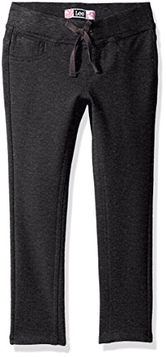 Girls Pant Knit - LEE Girls' Big Knit Waist Skinny Pull On Pant, Charcoal, 10