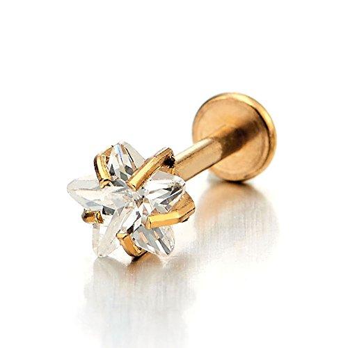 Women Mens Steel Gold Lip Stud Ring 5MM Star CZ Piercing Labret (Gold Labret Stud Lip Rings)