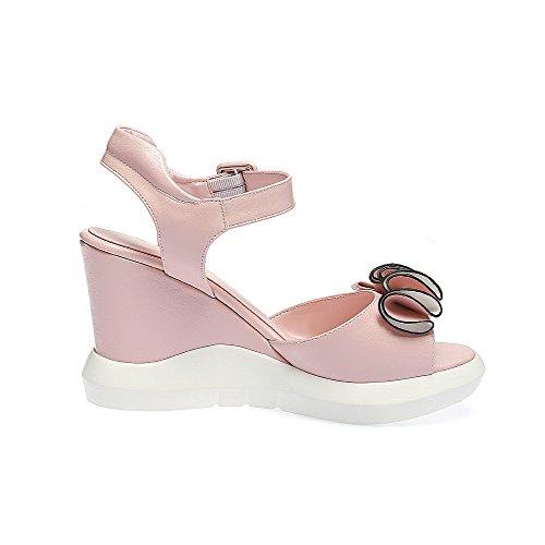 AmoonyFashion Womens High Heels Buckle Open Toe Solid Sandals Pink rGlRwqWT