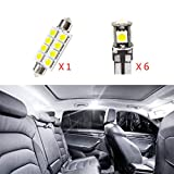LED Bulbs For Cadillac CTS Reading lights,Xenon White Super Bright Error Free Canbus Car Interior Dome Map Door Courtesy License Plate Lights 7Pcs