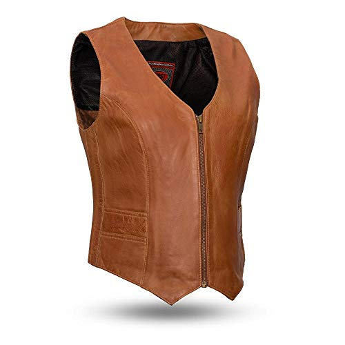 - First Mfg Co Women's Extra soft lambskin Leather Vest (Whiskey, Medium)