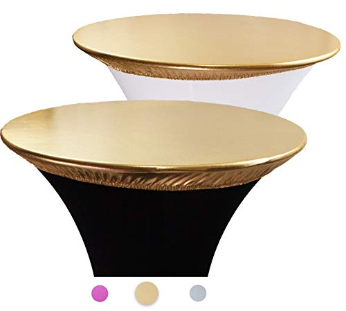 2-Pack Gold Spandex Table Topper Cap (36'') for Round Cocktail Tables, Adding Precious Metallic Glitter and Luxurious Accents, Protecting From Spill, for Weddings Parties Banquet, Restaurants (Table 36 Cocktail)